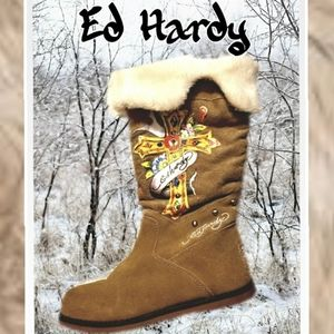 Ed Hardy light brown Suede Boots Sz 8